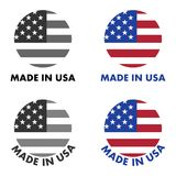 Made in USA label. Red stripes and white stars on blue field, cl. Ipped to circle with text below. Black & white / color version Stock Photography