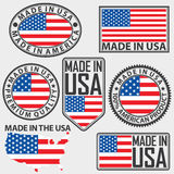Made in USA label set with flag, vector stock illustration
