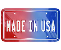 Made in the USA License Vanity Plate Car Stock Image