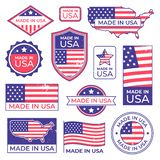 Made in usa logo. American proud patriot tag, manufacturing for usa label stamp and united states of america patriotic. Flag. Us original american vector illustration