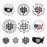 Made in USA monogram vector set. Vintage America logo design. Retro United States seal. US label illustration on grunge Royalty Free Stock Images