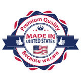 Made in USA, Premium Quality, because we care royalty free stock image