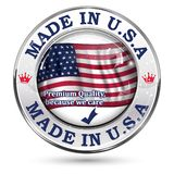 Made in USA, premium quality  label / icon. Made in USA, premium quality - business commerce shiny icon with the flag of United States of America. Suitable for Royalty Free Stock Images
