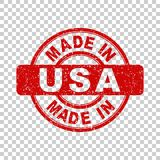Made in USA red stamp. Vector illustration on isolated background Stock Images