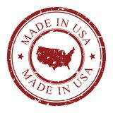 Made in USA retro grunge stamp with USA map inside, isolated. Vector stamp illustration. Trade mark brand from United states of America. Seal, emblem, national Stock Image