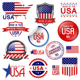 Made in the USA. Set of vector graphic icons and labels. Vector illustration