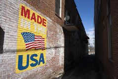 Made in the USA Sign on Building Royalty Free Stock Images