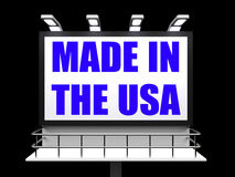 Made in the USA Sign Means Produced in America. Made in the USA Sign Meaning Produced in America Royalty Free Stock Photo