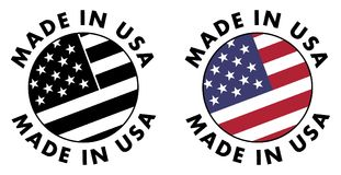 Made in USA sign. Red stripes, white stripes and stars on blue f. Ield, clipped to circle with text around. Black & white / color version Stock Photos