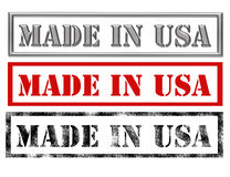 Made in usa signs. Metallic, red and black made in usa over white background.illustration Stock Photo