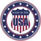 Made in the USA stamp. A circular made in the U.S.A. decal or stamp vector illustration