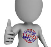 Made In USA Stamp On Man Shows Excellent American Products Stock Images