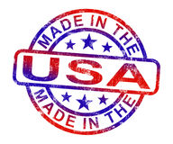 Made In USA Stamp Shows American Products Or Produce Stock Images
