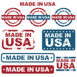 Made in USA stamps. Set of grunge made in usa stamps isolated on white background.EPS file available