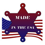 Made in usa star. Star with made in America, USA flag,  illustration Stock Photo