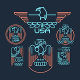 Made in the USA. Symbol with  American flag and eagle Set of templates emblems. Vector illustration EPS 10 Stock Images
