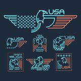 Made in the USA. Symbol with  American flag and eagle Set of templates emblems. Vector illustration EPS 10 Stock Photo