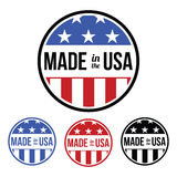 Made in the USA Symbol. An  Made in the USA symbol/badge with the American flag colors with stars and stripes. Add this to your American made products to ensure Stock Images
