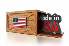 Made in USA text inside cargo box with American flag. 3D illustration.  Stock Photo