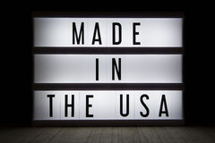 Made in the USA. `Made in the USA` text in lightbox stock photos