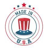 Made in USA top hat flag emblem badge. Vector illustration Stock Photo