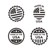 Made in USA vintage labels. Four Made in USA vintage labels with distressed texture isolated on white background Stock Photography