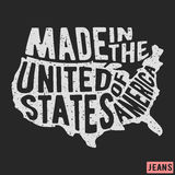 Made in the USA vintage stamp. T-shirt print design. Made in the USA vintage stamp. Printing and badge applique label t-shirts, jeans, casual wear. Vector Royalty Free Stock Image