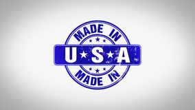 Made in USA Word 3D Animated Wooden Stamp Animation stock video