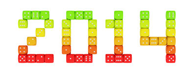 Dice energy 2014. 2014 made from vibrant energy dice on the white background stock illustration