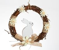 White rabbit in a wreath Royalty Free Stock Image