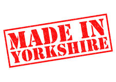 MADE IN YORKSHIRE. Red Rubber Stamp over a white background Stock Photo