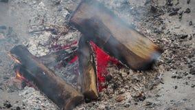 Madeira ardente do soldador durante o inverno fora vídeos de arquivo