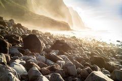 Madeira coast - cliffs and rocky beach Stock Photos
