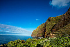 Madeira coast - cliffs on the western part of Portuguese island. Stock Images