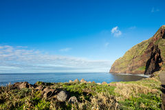 Madeira coast - cliffs on the western part of Portuguese island. Stock Photography