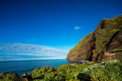 Madeira coast - cliffs on the western part of Portuguese island. Stock Image