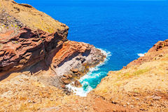 Madeira - colorful cliff coast royalty free stock image