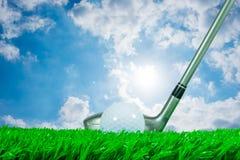 Madeira da bola de golfe e do fairway e céu do verão Imagens de Stock Royalty Free