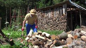 Madeira da costeleta do homem forte com o machado na jarda da vila Trabalho sazonal 4K video estoque