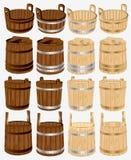 Madeira da cuba do balde da cubeta do tambor Imagem de Stock