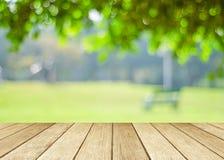 Madeira da perspectiva sobre árvores do borrão com fundo do bokeh fotos de stock royalty free