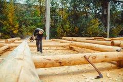 Madeira da serragem da serra de cadeia Fotografia de Stock Royalty Free