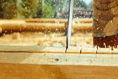 Madeira da serragem da serra de cadeia Imagem de Stock Royalty Free