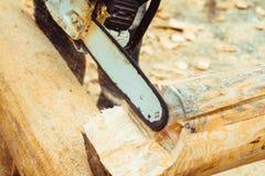 Madeira da serragem da serra de cadeia Imagem de Stock