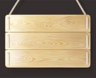 Madeira de madeira do sinal com corda Imagens de Stock Royalty Free