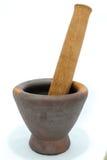 Madeira de madeira do almofariz e do pilão Fotografia de Stock