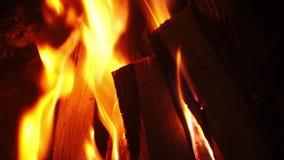 Madeira de queimadura na chaminé em casa no tempo de inverno, noite romântica com família Tiro ascendente próximo em 4k video estoque