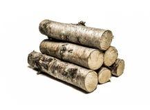 A madeira de vidoeiro isolou-se foto de stock royalty free