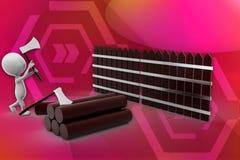 madeira do corte do homem 3d com ilustração do machado Foto de Stock Royalty Free