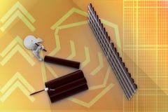 madeira do corte do homem 3d com ilustração do machado Fotografia de Stock Royalty Free